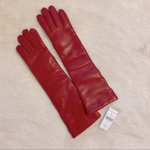 NWT Barneys long red leather gloves